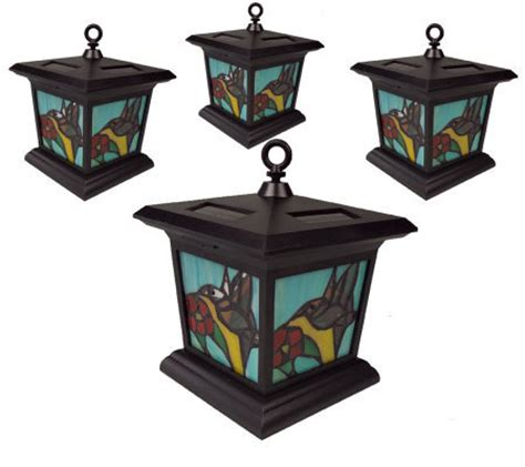 Set Of 4 Stained Glass Solar Powered Garden Lights Qvc Com Stained Glass Solar Lights