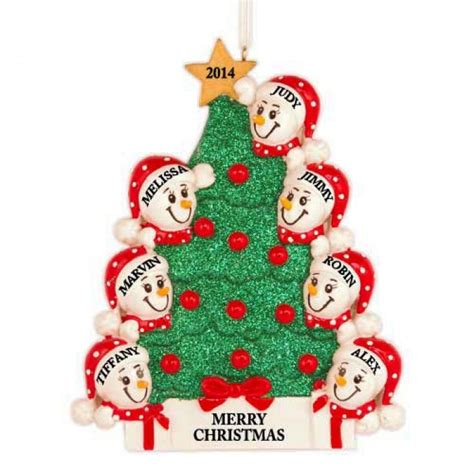 tree snowman family of 7 personalized christmas ornament