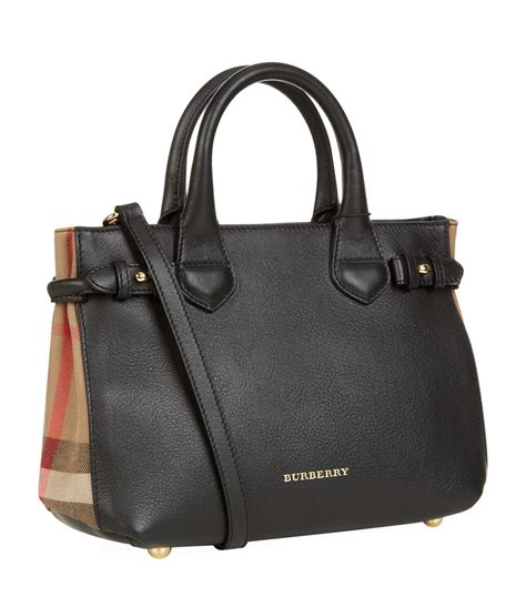 House Bags by Burberry Small House Check Detail Leather Banner Bag In