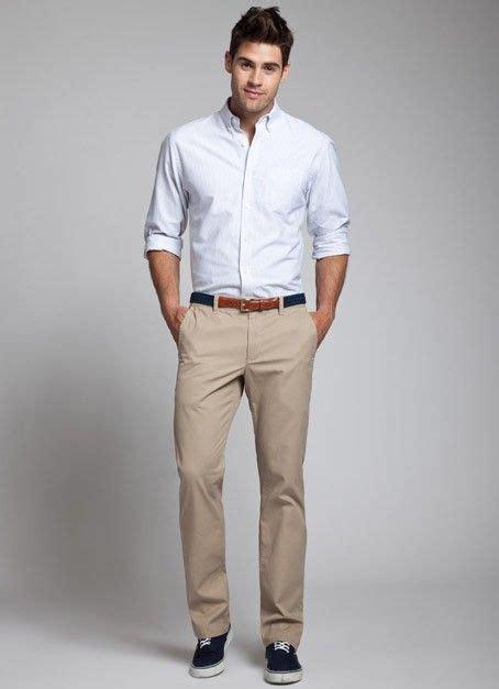 khaki pants  light shirt light pink light purple