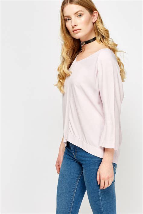 Pastel Blouse Freno 5 light pink v neck top just 163 5