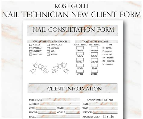 Nail Technician Client Record Card Template by Gold Nail Technician New Client Form And Service Record