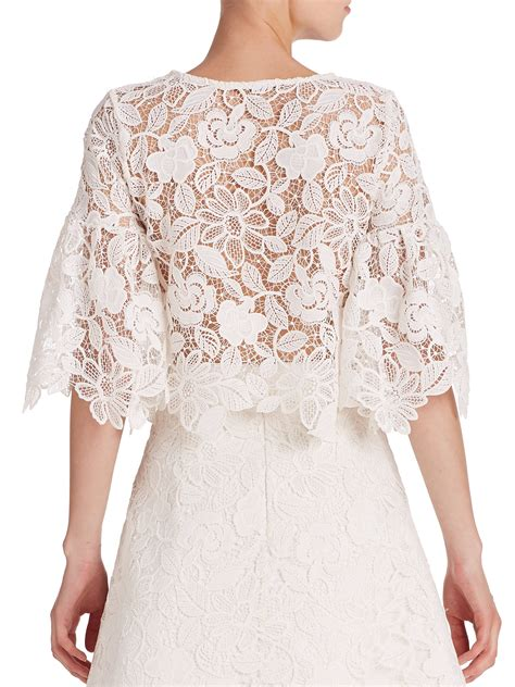 Lace Cropped Top lyst valery lace bell sleeve cropped top in white