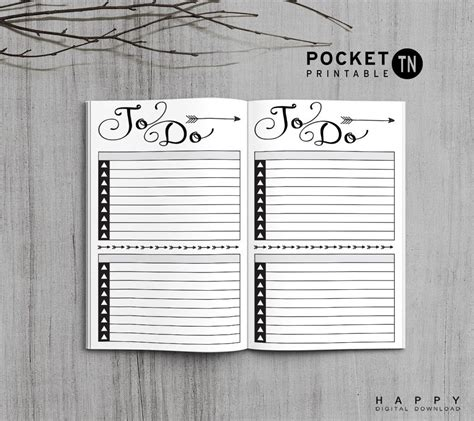 printable pocket to do list printable july 2017 travelers notebook insert pocket tn