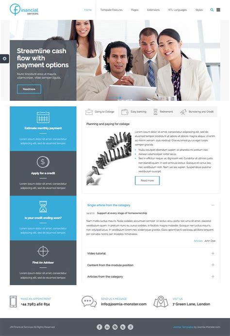 Jm Financial Services Joomla Template For Insurance Accountancy Financial Services Template