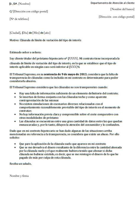 carta formal de reclamacion ejemplo de carta de reclamaci 243 n cl 225 usula suelo mil ejemplos