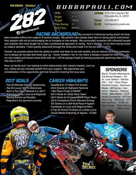Motocross Resume by Sponsor Bubba Pauli Resume Bubba Pauli 82