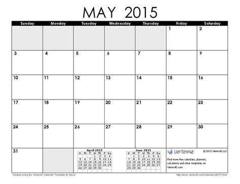 blank calendar template without dates 2015 may printable calendar without holidays free