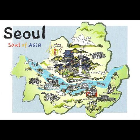 seoul map tourist attractions korea seoul city tourist attractions map postcard korea