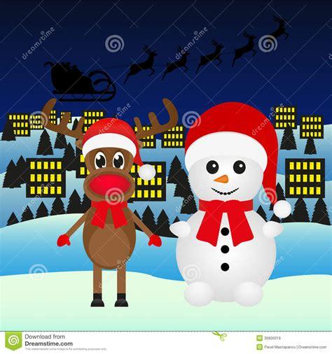 snowman and reindeer stock illustration image of reindeer