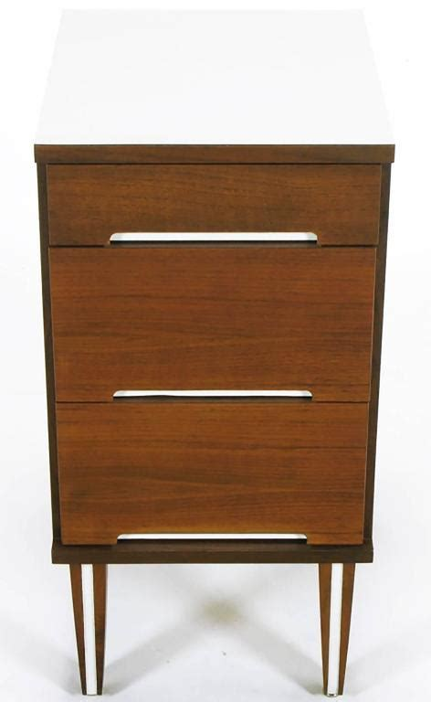 3 Drawer Nightstand White by Walnut And White Micarta Three Drawer Nightstand For Sale