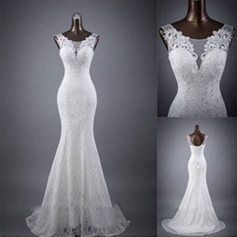 White Lace Wedding Dresses by Sleeveless Mermaid Lace Up Popular Lace Wedding
