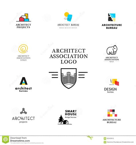 vector flat architecture company logo collection stock