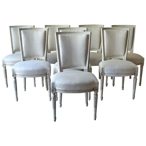 Set of eight painted french dining chairs at 1stdibs