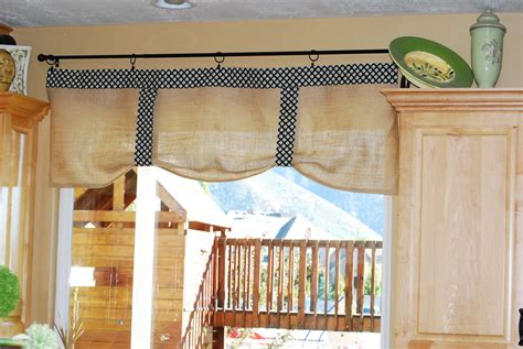 how to make kitchen curtains and valances creative fridays burlap no sew kitchen curtains my