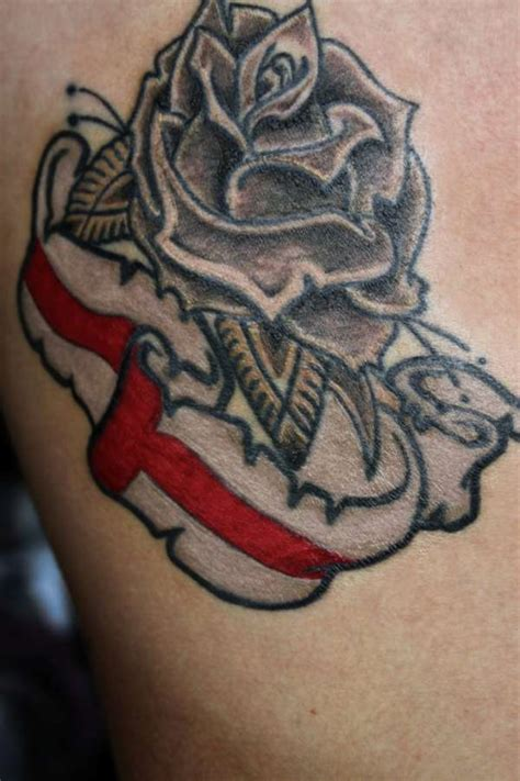british rose tattoo and st georges flag