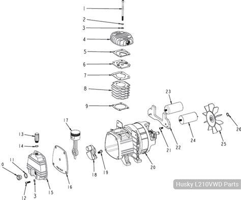 husky 10 gallon portable air compressor l210vwd parts