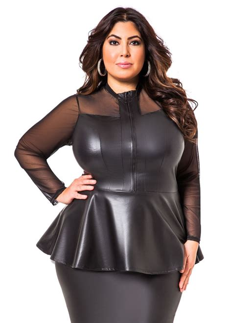 Selvi Top F A 1 pleather peplum top with mesh illusion stewart