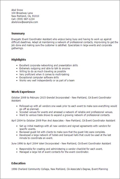 sle resume assistant event coordinator professional event coordinator assistant templates to showcase your talent myperfectresume
