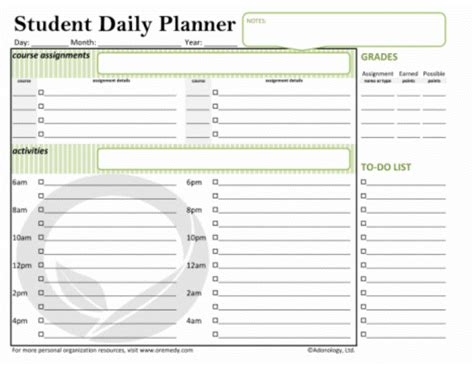 student planner templates 5 student planner template procedure template sle