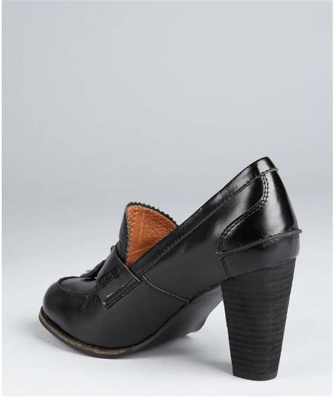 stacked heel loafer jeffrey cbell black leather mtm stacked heel loafers in