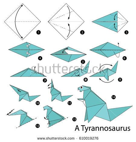 How To Make An Origami Dinosaur Step By Step - step by step how make stock vector 610019276