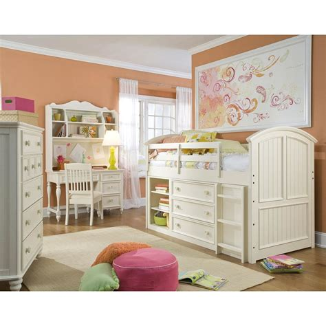 White Loft Bed by Summer Simple White Cottage Mid Loft Bed