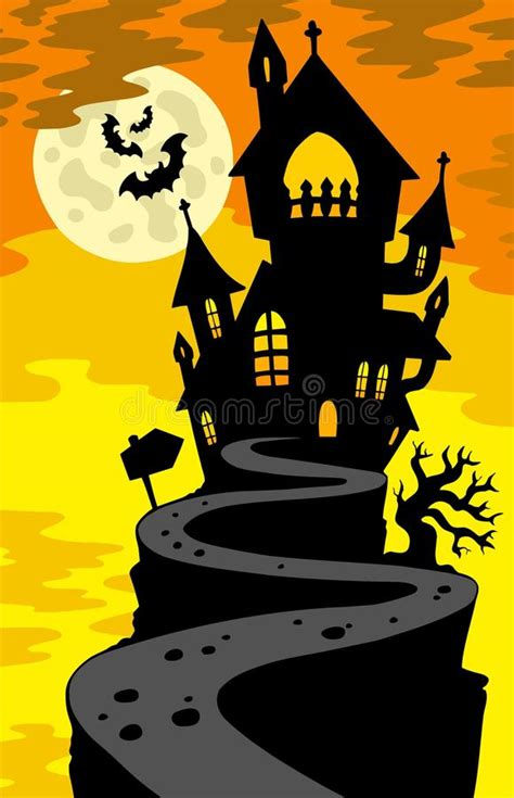 haunted house silhouette  hill royalty  stock