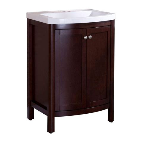 Home Decorators Bathroom Home Decorators Collection Madeline 24 In W Bath Vanity In Chestnut With Composite Vanity Top