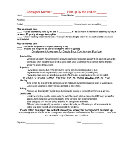 consignment contract form for crafts