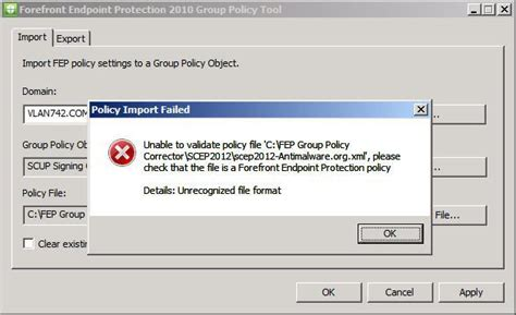 unable to load template file forefront endpoint protection 2010 policy tool
