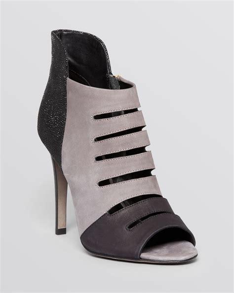 grey high heel booties minkoff open toe booties cutout high heel