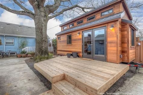 tiny house in backyard couple living in 160 sq ft backyard tiny house