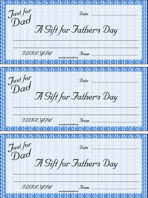 printable gift certificates for father s day dad iou printable gift checks father s day iou coupons