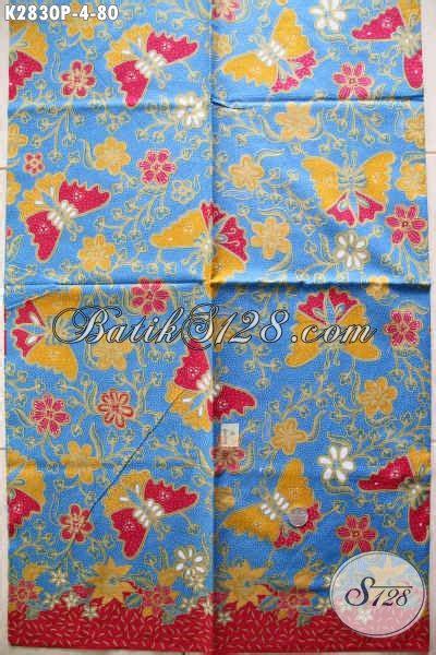 Kain Batik Halus Motif Kupu Ranting Biru Bahan Batik Pekalongan kain batik motif kupu bunga batik dasar biru bahan blus