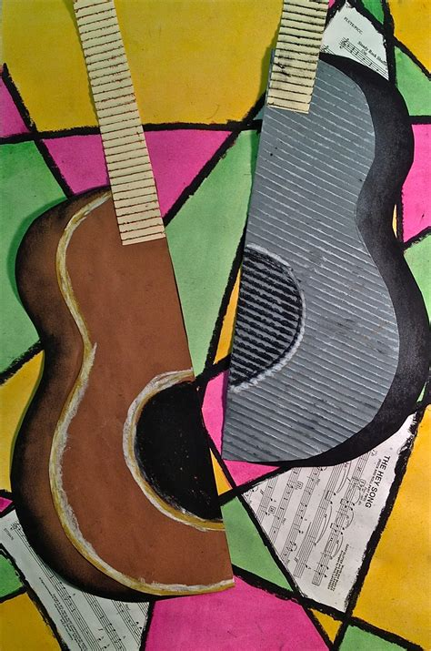 picasso paintings musical instruments abstract guitar or instrument mixed media lesson