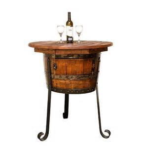 vintage oak half barrel table with 4 wine stools