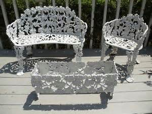 vintage cast iron patio furniture settee chair planter