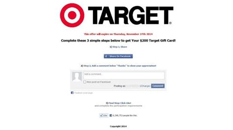 Target Voucher Gift Card Facebook - free voucher scam lures with offers from target nike and macy s softpedia