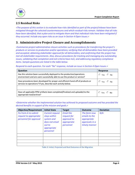 project completion report template project completion report template in word and pdf formats