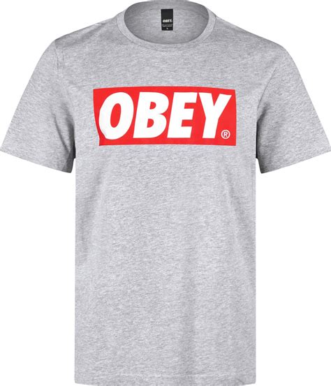 obey bar logo t shirt grey