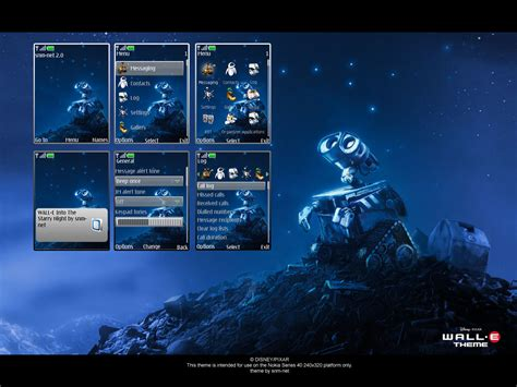 nokia 5233 night themes wall e starry night theme by snm net on deviantart