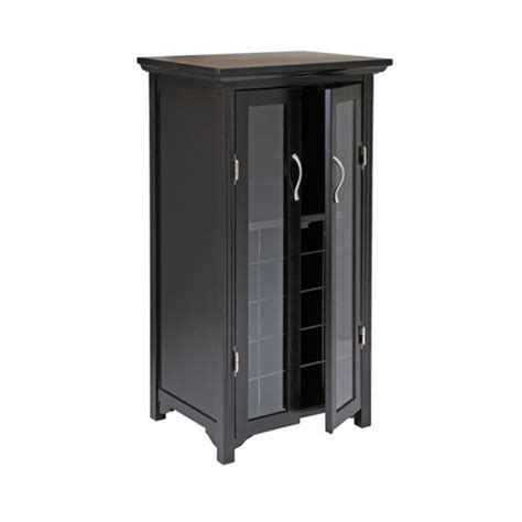 wine cabinet with doors winsome wood wine cabinet with glass doors 92722
