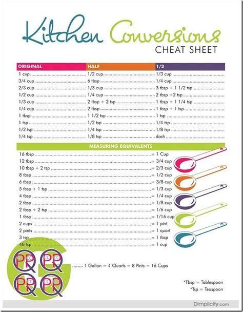 cooking measurement conversion worksheets kitchen measurements conversion and equivalent sheet