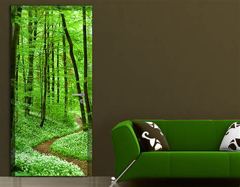 door photo wall mural romantic forest track wallpaper
