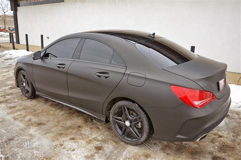 mercedes matte black zr auto blog sinister matte black wrapped mercedes cla