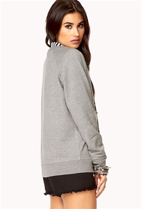 Sweatshirt The Beatles Grey lyst forever 21 the beatle sweatshirt in gray