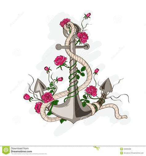 anchor entwined with rose flowers stock vector image