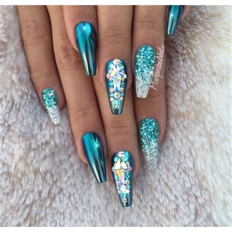 teal chrome coffin nails  margaritasnailz spring nail