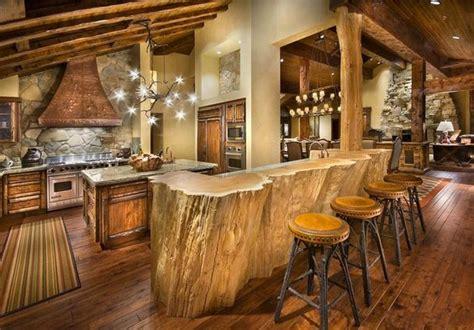 rustic log cabin decor unique hardscape design log rustic cabin kitchen design with log wood bar table and